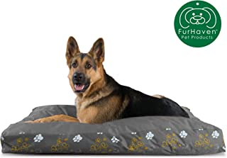 Furhaven Pet Dog Bed   Deluxe Water-resistant Indoor/Outdoor Garden Print Pillow Cushion Traditional Mattress Pet Bed w/ Removable Cover for Dogs & Cats, Iron Gate, Jumbo