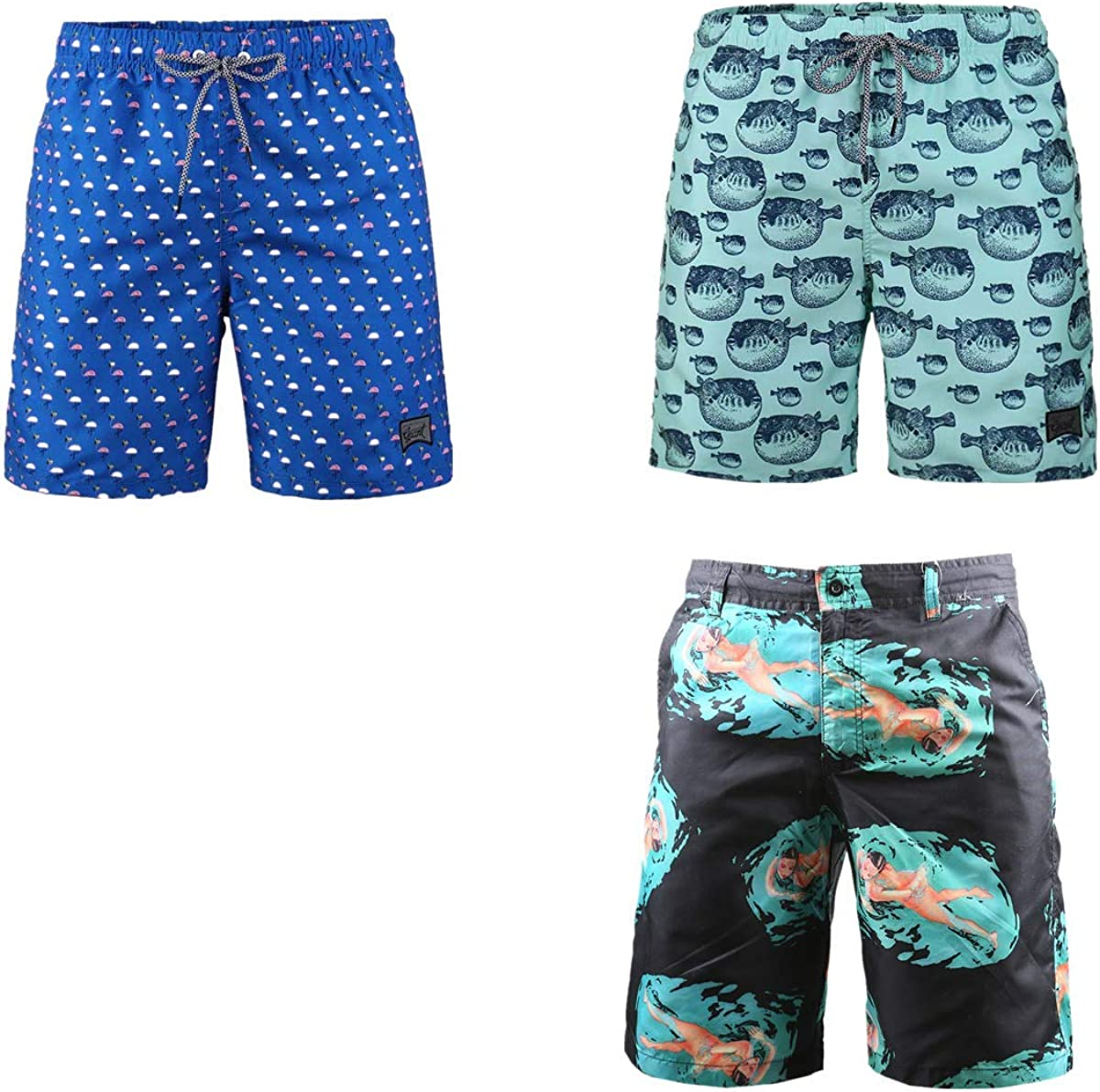 Charlotte Mall online shop 3-Pack Men's Board Shorts Drawstring Vacation for Swimming Beach