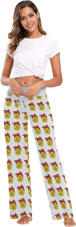 XUWU Women's Comfy Casual Pajama Pants Drawstring Wide Leg Lounge Pants Sleepwear