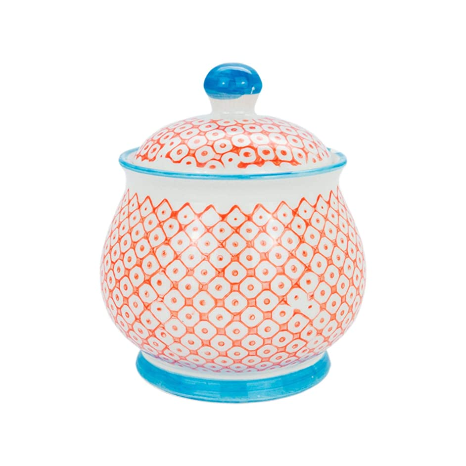 Nicola Spring Patterned Ceramic Sugar Bowl Pot with Lid - Orange/Blue