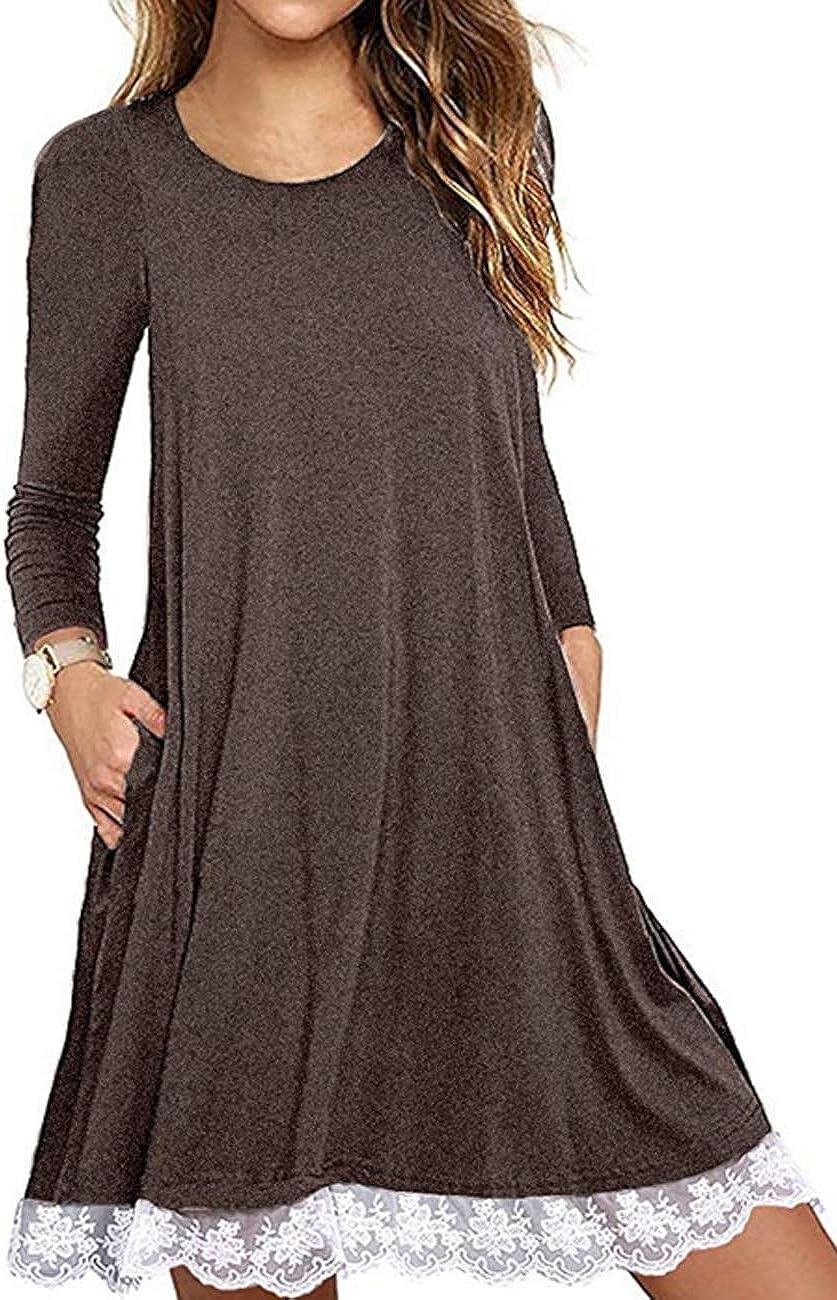 Halife Women's Summer Max 67% OFF Fall Memphis Mall Short Sleeve Lace Hem Long T-S