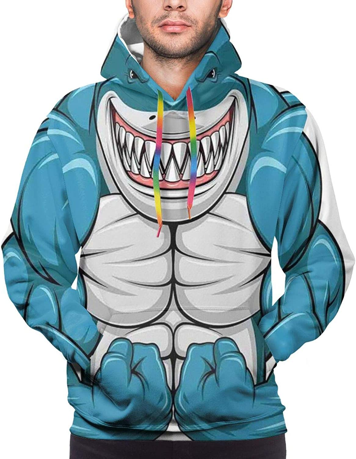 Men's Hoodies Sweatshirts,A Smiling Toothy White Shark with Big Muscles On Arms Illustration Print,Small