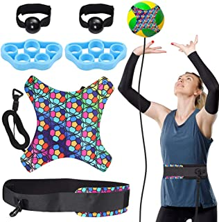 Tanice Volleyball Training Equipment Aid - Solo Practice Trainer for Serving, Setting, Spiking & Arm Swing, Returns Ball A...