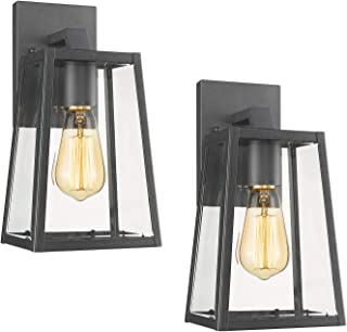 MICSIU Wall Sconce 1-Light Outdoor Exterior Lamp Wall Lantern Vintage Fixture Light with Clear Glass,Textured Black, for Home,Porch,Patio,Walkways,Bedroom (Textured Black Small 2 Pack)