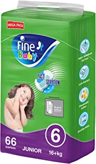 Fine Baby Diapers, DoubleLock Technology , Size 6, Junior 16kg +, Mega Pack. 66 diaper count