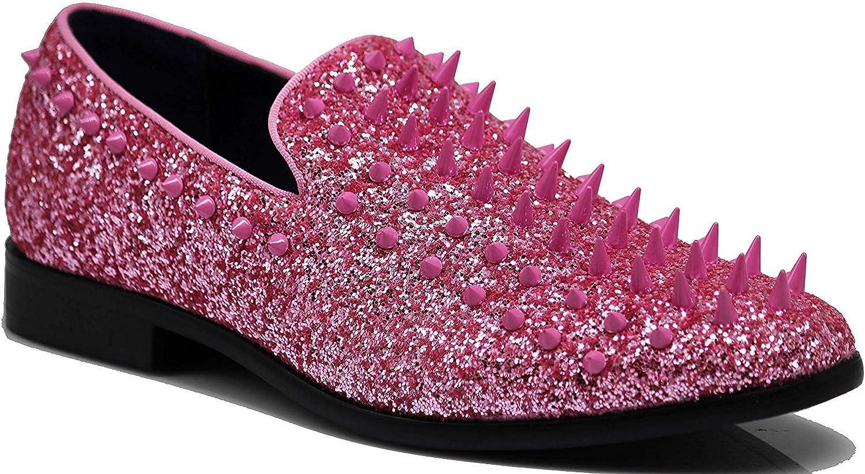 SPK16 Mens Vintage Spike Dress Loafers Slip On Fashion Shoes Classic Tuxedo Dress Shoes