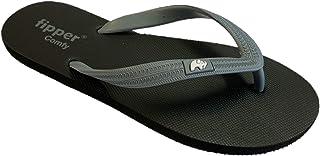 fipper Slipper Comfy Rubber Thongs Mens Sizes Black-Grey 10UK 11US