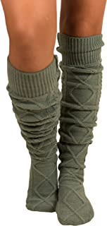 Women's Cable Knit Knee-High Winter Boot Socks Extra Long Thigh Leg Warmers Stocking
