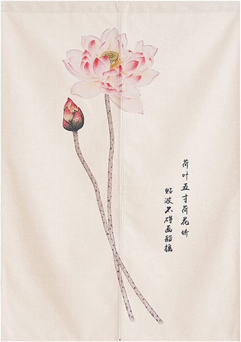 BAIHT HOME Japanese Noren Doorway Curtain Tapestry Cotton Linen Chinese Lotus Bedroom Door Curtains Wall Decor 33.5