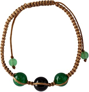 NOVICA Dyed Black and Green Onyx Macrame Shambhala Style Bracelet, Adjustable, Protective Tranquility'