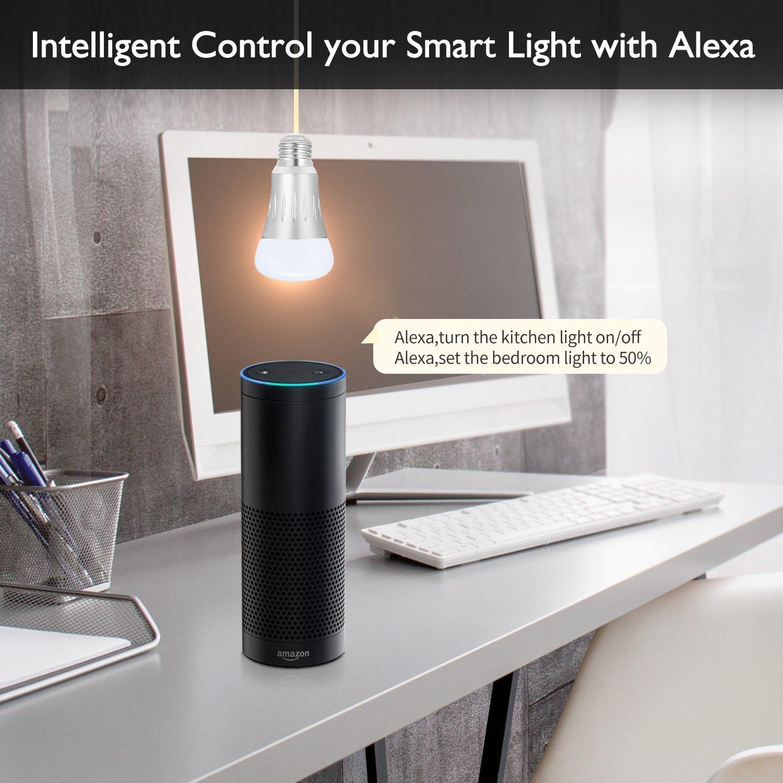 Alex First WiFi Smart LED Lámpara, 20 W luz, Multi Color Inteligente,  compatible con Amazon Alexa (Echo, Echo Dot) Google Home, trabajo con  Smartphone