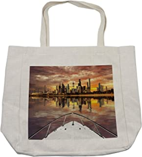 Ambesonne Travel Shopping Bag, Kuwait City Skyline from Sailboat Majestic Sky Skyscrapers Arabia Landscape Photo, Eco-Friendly Reusable Bag for Groceries Beach and More, 15.5