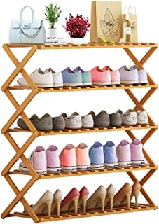 Shoes Rack Storage Shelf Book Shelves Flower Stand Bamboo Shoe Organizer Foldable No Assembly Required Free Standing 5 Tie...