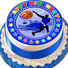 Cannellio Cakes Basketball Blue Happy Birthday 7.5 Inch Precut Edible Icing Cake Topper Decoration