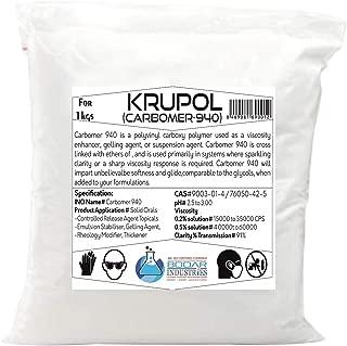 Krupol Carbomer 940 Powder Exclusive Factory Outlet Best For Cosmetics Making, Soap Making, DIY Cosmetics Makings,Ultrasonic Gel Making (5 Kilogram)