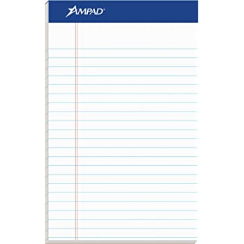 """Ampad Jr. Notepad, College/Medium Ruled, 50 Sheets, White, 5"""" x 8"""", 12 per Pack (20-364)"""