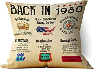 "chillake Vintage Back in 1980 Poster Throw Pillow Case Cushion Cover for Sofa Couch Living Room Home Decor - Retro 1980 Poster Sign Pillow Case Gifts for Birthday/Anniversary/Wedding(18""x 18""Inch)"
