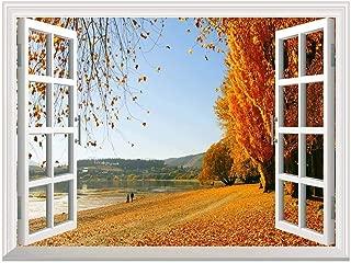 Autumn Golden Fallen Leaves Open Window Mural Wall Sticker - 36