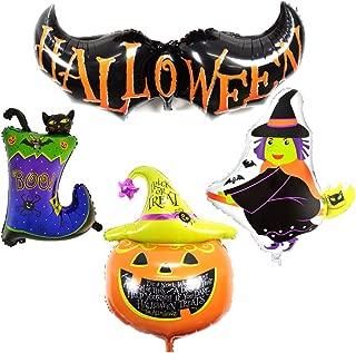 Gardeningwill 4 Different Design Shape Happy Halloween Aluminum Foil Bat Pumpkin Witch Cat Party Supplies Decoration