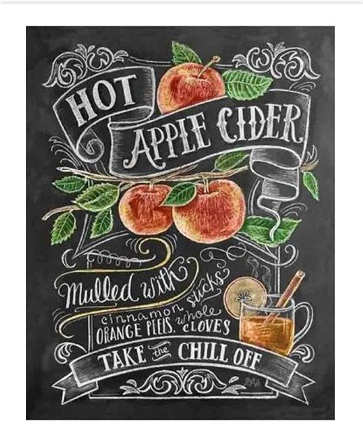 CaptainCrafts DIY 5D Diamond Painting by Number Kits Full Drill Diamond Painting - Blackboard Text Style (12X16inch/30X40cm) (Fruit Painting)