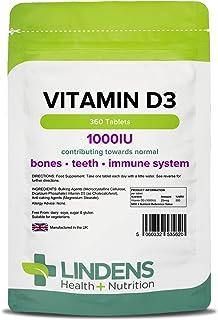 Lindens Vitamina D3 1000iu Pastillas 360 PACK UK fabricante Apto Para Vegetarianos