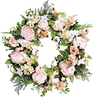 Agirlgle Spring Wreath Artificial Peony Flower Wreath for Front Door 19 inch Springtime Faux Flower and Artificial Flower ...