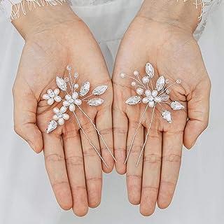 Handcess - Fermaglio per capelli da sposa in cristallo, con strass argentati, accessorio per capelli per sposa e damigelle...