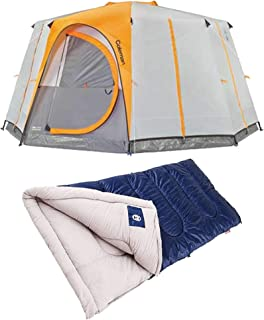 La Rosticceria Coleman Octagon 98 8-Person Full Rainfly Tent with Spacious Interior for 2 Queen-Sized Airbeds Bundle with Brazos 30-Degree Rectangle Camping Sleeping Bag, Blue