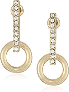 Kenneth Cole Gold Stick Earrings with Circle Drop, Crystal, One Size