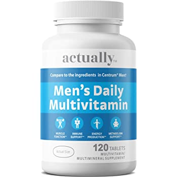 Actually Men's Daily Multivitamin Tablets, 120ct - Muscle Function, Immune Support, Energy Production, Metabolism Support for Men – 120-Day Supply