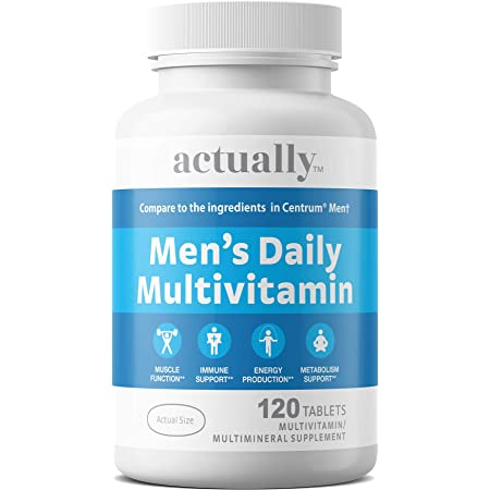 Actually Men's Daily Multivitamin Tablets, Muscle Function, Immune Support, Energy Production, Metabolism Support for Men, Day Supply, 120 Count