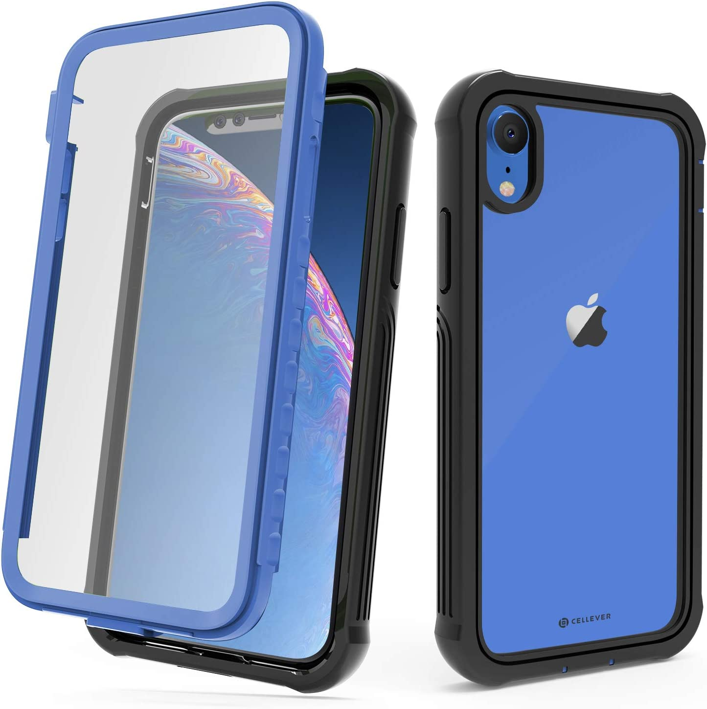 CellEver Compatible with iPhone XR Case, Heavy Duty Clear Full-Body Protective Transparent Cover with Soft Shock Absorbing TPU Bumper and Built-in Screen Protector - Blue