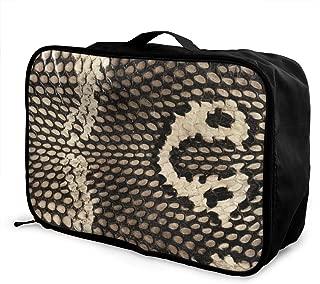 Lightweight Large Capacity Portable Luggage Bag Cobra Snake Skin Travel Waterproof Foldable Storage Carry Tote Bag