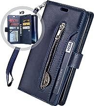 Galaxy S7 Edge Wallet Case for Women/Men,Auker Premium Folio Flip Leather Trifold 9 Card Holder Kickstand Magnet Zipper Pocket Wallet Purse Case with Wrist Strap for Samsung Galaxy S7 Edge (Navy)