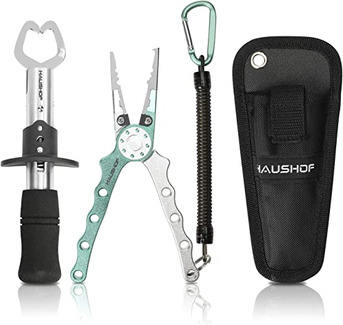 discount HAUSHOF Aluminum Fishing popular Pliers and Fish Lip Gripper, Stainless SteelMulti-Function Fishing Pliers outlet online sale Hook Remover with Tungsten Carbide Cutters, Coiled Lanyard and Sheath online