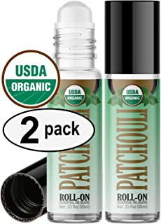 Organic Patchouli Roll On Essential Oil Rollerball (2 Pack - USDA Certified Organic) Pre-diluted with Glass Roller Ball for Aromatherapy, Kids, Children, Adults Topical Skin Application - 10ml Bottle