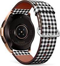 Compatible with Samsung Galaxy Watch (42mm) - Quick-Release Leather Band Bracelet Strap Wristband Replacement - Gingham