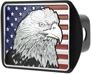 eVerHITCH USA US American Flag Eagle Metal Flag Emblem on Metal Trailer Hitch Cover (Fits 2