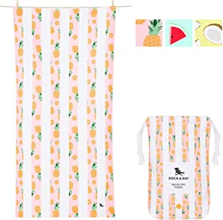 Dock & Bay Lightweight Beach Towel for Travel - Playful Pineapple, Large (160x80cm, 63x31) - Fast Dry Towel for Swim, Camp...