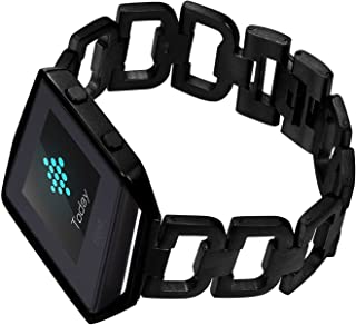 Bandmax Compatible Stainless Steel Fitbit Blaze Band with Frame Link Bracelet Watchband Fold-Over Clasp Letter D Pattern M...