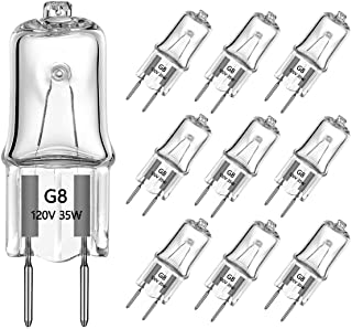 G8 Light Bulbs 35Watt 120Volt Halogen Light Bulb G8 Base Bi-Pin Shorter 35W T4 JCD Warm White Under Cabinet Puck Lighting Replacements,10Pack
