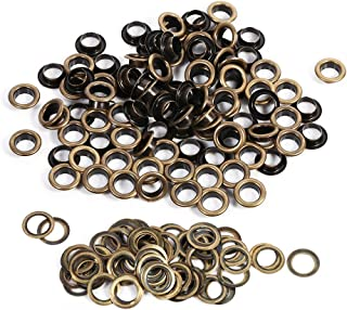 ZJchao Eyelet Grommets, 100 Sets Antique Brass Round DIY Grommets Washers for Leather Canvas Clothes Belts Shoes Crafts(14mm)