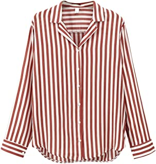 Loyomobak Women V-Neck Button Down Long Sleeve Casual Stripe Shirts