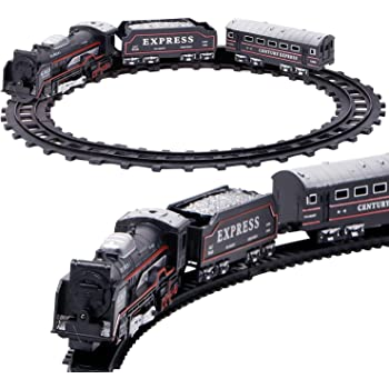 Zest 4 Toyz Battery Operated Black Train Toy Set for Kids, Big Size Train Set for Kids   Bump and Go Musical Toy Train