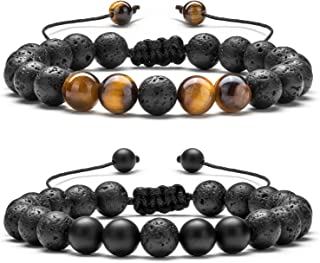 Men Women 8mm Lava Rock Aromatherapy Anxiety Essential Oil Diffuser Bracelet Braided Rope Natural Stone Yoga Beads Bracelet Bangle-21017