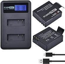 PowerTrust 2 Pack SJ4000 Replacement Camera Battery + LCD Dual USB Charger for sjcam sj 4000 SJ5000 sj5000x SJ6000 sj7000 sj8000 sj9000 WiFi SJ M10