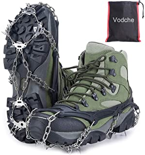Vodche Traction Cleats Crampons Ice Snow Grips for Boots Shoes Anti-Slip 19 Spikes Stainless Steel Ice Cleats Safe Protect for Walking, Jogging, Climbing and Hiking