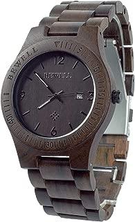 Bewell W086B メンズ腕時計 日付表示 夜光アナログ木製腕時計 ブラックサンダルウッド。