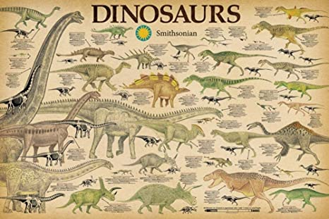 Dinosaurs Smithsonian Educational Chart Laminated Dry Erase Sign Poster 36x24