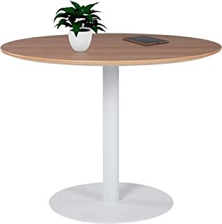 Sunon Round Conference Table,Small Dining Table with White Pedestal Base (39.3 x 29.5 inch Height, Virginia Walnut)